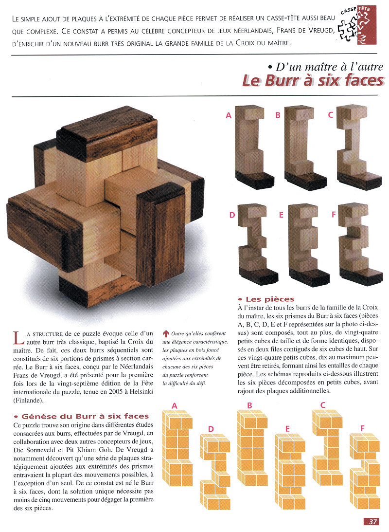 Casse T u00eate Bois LE BURR u00c0 SIX FACES n u00b0 18Éditions FA # Casse Tete Bois Solution